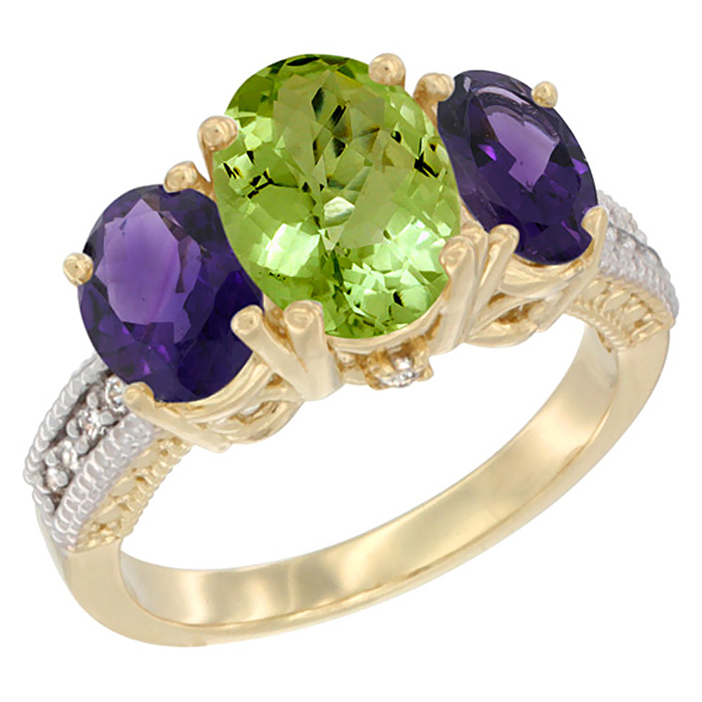 10K Yellow Gold Natural Peridot Ring Ladies 3-Stone 8x6 Oval with Amethyst Sides Diamond Accent, sizes 5 - 10
