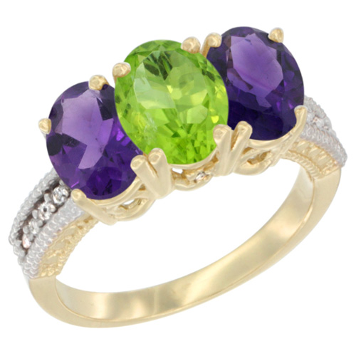 14K Yellow Gold Natural Peridot & Amethyst Ring 3-Stone 7x5 mm Oval Diamond Accent, sizes 5 - 10
