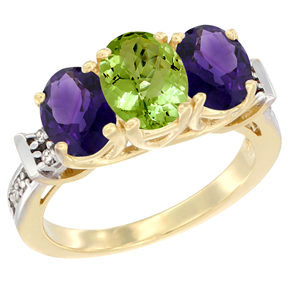 10K Yellow Gold Natural Peridot & Amethyst Sides Ring 3-Stone Oval Diamond Accent, sizes 5 - 10