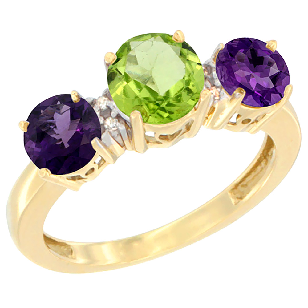 14K Yellow Gold Round 3-Stone Natural Peridot Ring & Amethyst Sides Diamond Accent, sizes 5 - 10