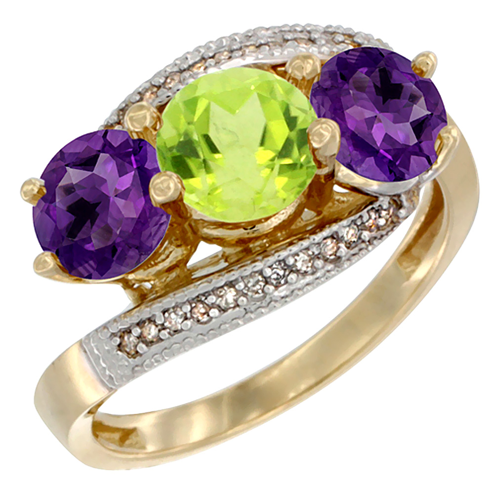 14K Yellow Gold Natural Peridot & Amethyst Sides 3 stone Ring Round 6mm Diamond Accent, sizes 5 - 10