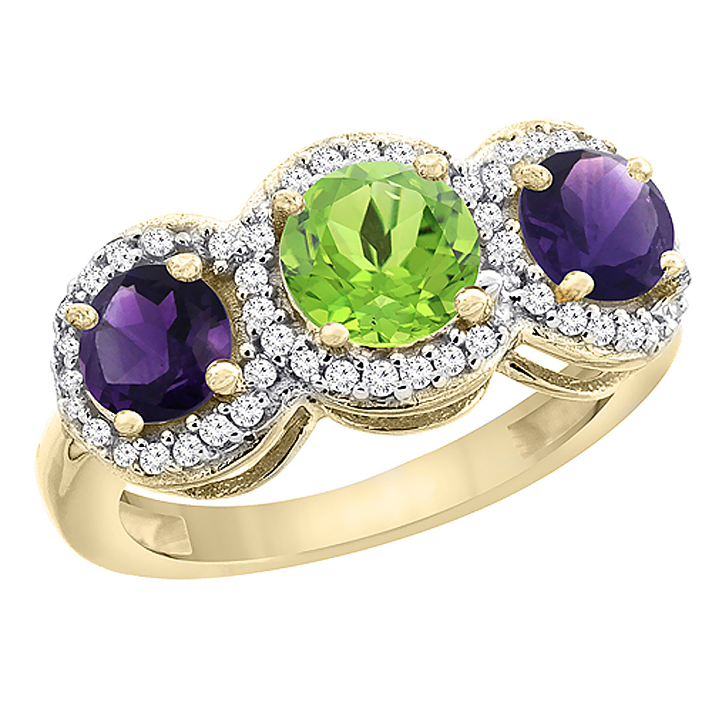 10K Yellow Gold Natural Peridot & Amethyst Sides Round 3-stone Ring Diamond Accents, sizes 5 - 10