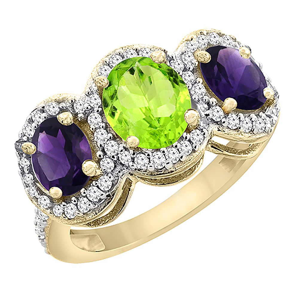 10K Yellow Gold Natural Peridot & Amethyst 3-Stone Ring Oval Diamond Accent, sizes 5 - 10