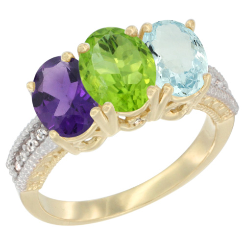 14K Yellow Gold Natural Amethyst, Peridot & Aquamarine Ring 3-Stone 7x5 mm Oval Diamond Accent, sizes 5 - 10