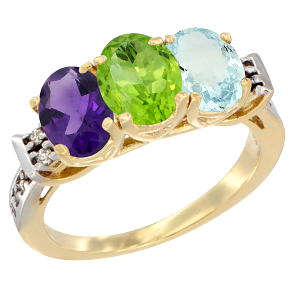 10K Yellow Gold Natural Amethyst, Peridot & Aquamarine Ring 3-Stone Oval 7x5 mm Diamond Accent, sizes 5 - 10