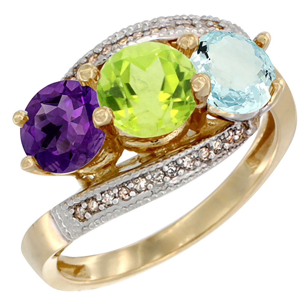 14K Yellow Gold Natural Amethyst, Peridot & Aquamarine 3 stone Ring Round 6mm Diamond Accent, sizes 5 - 10