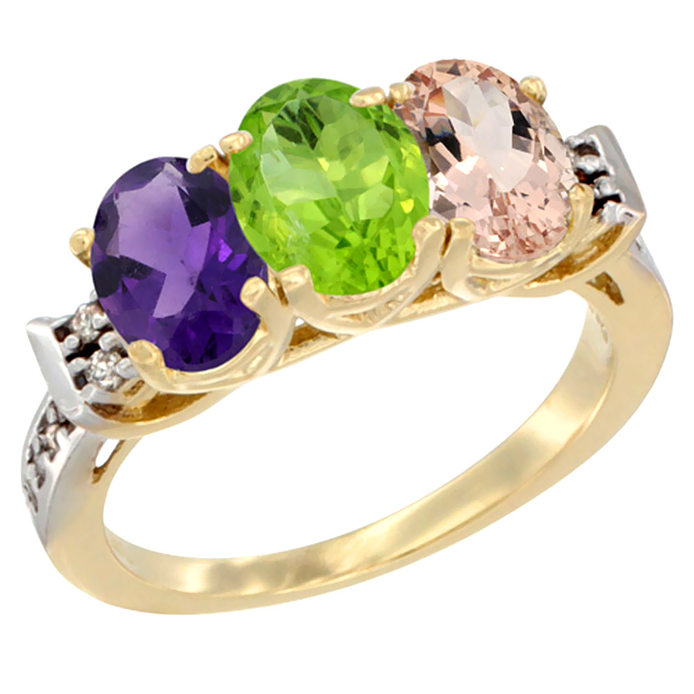 14K Yellow Gold Natural Amethyst, Peridot & Morganite Ring 3-Stone 7x5 mm Oval Diamond Accent, sizes 5 - 10