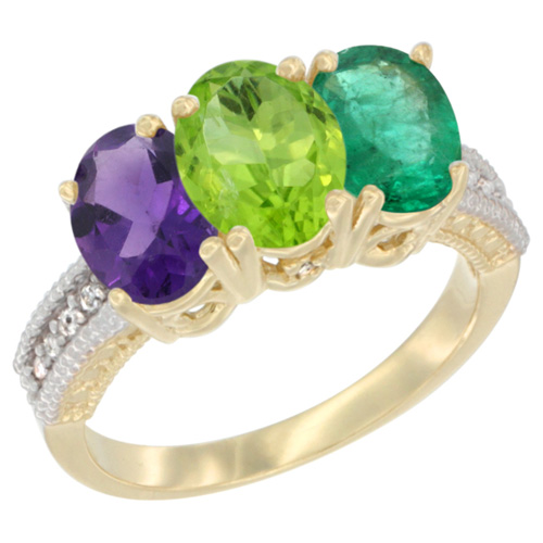 14K Yellow Gold Natural Amethyst, Peridot & Emerald Ring 3-Stone 7x5 mm Oval Diamond Accent, sizes 5 - 10