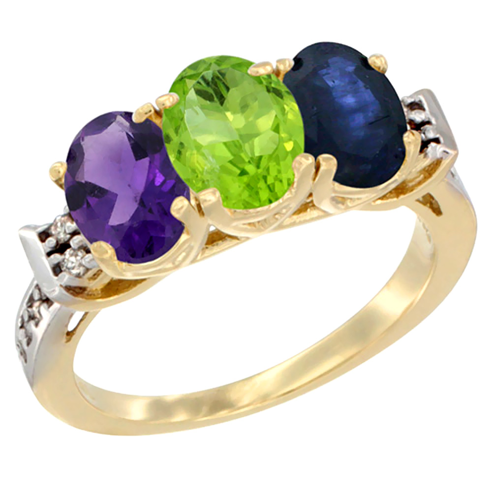 14K Yellow Gold Natural Amethyst, Peridot & Blue Sapphire Ring 3-Stone 7x5 mm Oval Diamond Accent, sizes 5 - 10