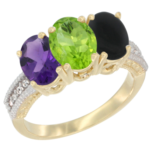 10K Yellow Gold Diamond Natural Amethyst, Peridot & Black Onyx Ring Oval 3-Stone 7x5 mm,sizes 5-10