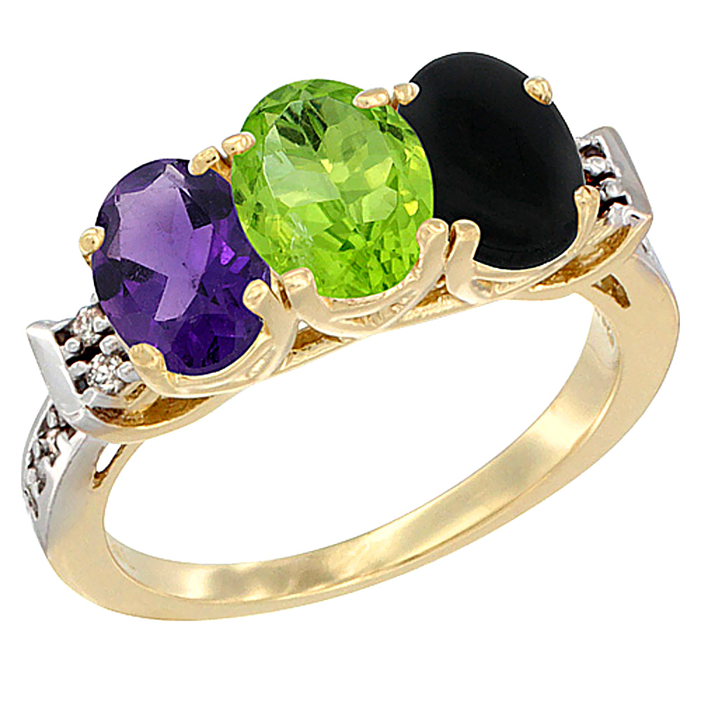 14K Yellow Gold Natural Amethyst, Peridot & Black Onyx Ring 3-Stone 7x5 mm Oval Diamond Accent, sizes 5 - 10