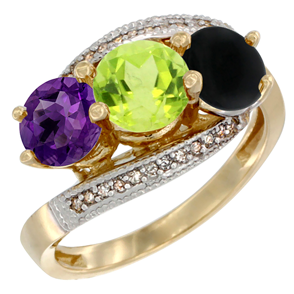 14K Yellow Gold Natural Amethyst, Peridot & Black Onyx 3 stone Ring Round 6mm Diamond Accent, sizes 5 - 10