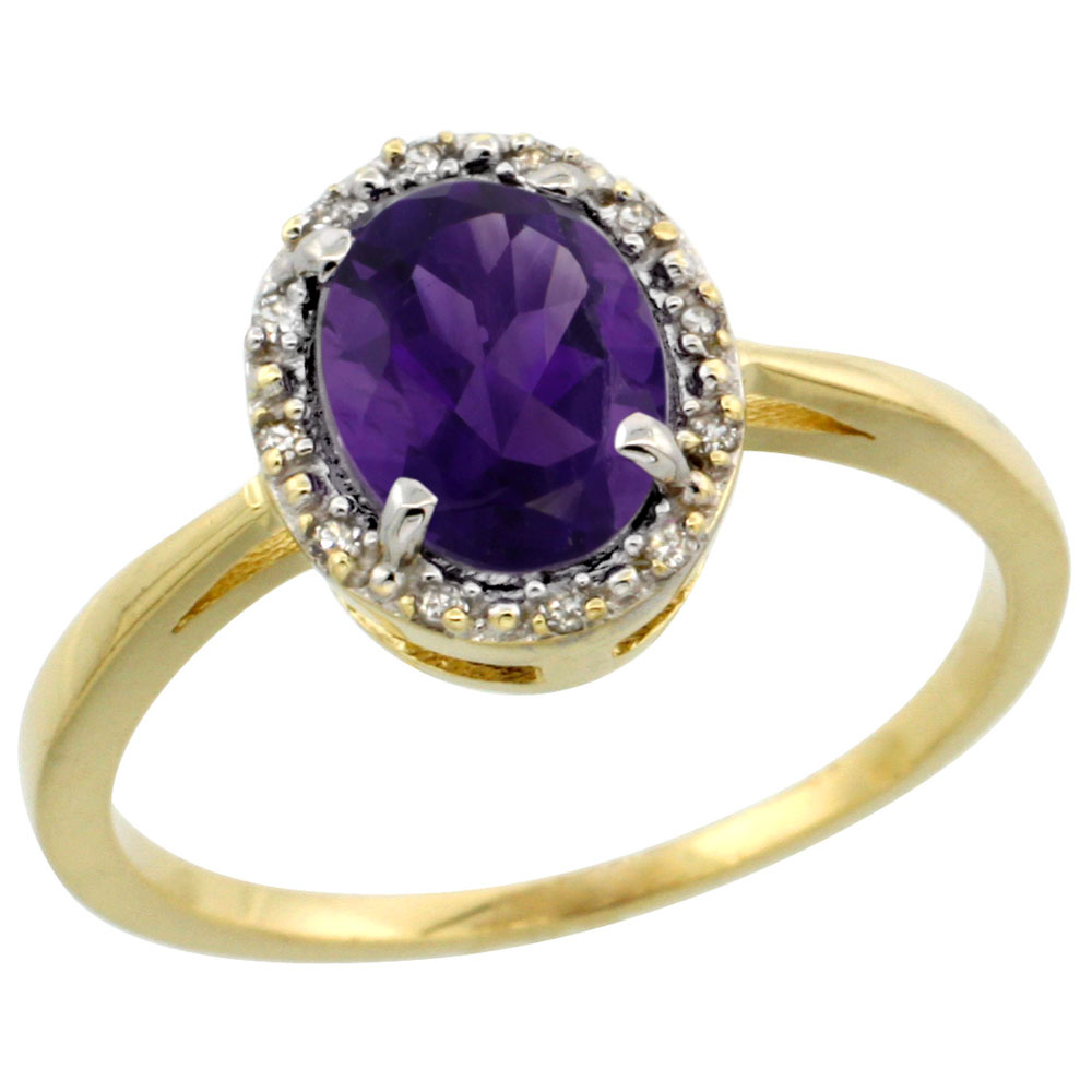 14K Yellow Gold Natural Amethyst Ring Oval 8x6 mm Diamond Halo, sizes 5-10