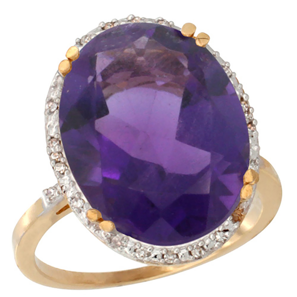 10k Yellow Gold Diamond Halo Genuine Amethyst Ring Large Oval 18x13mm sizes 5-10