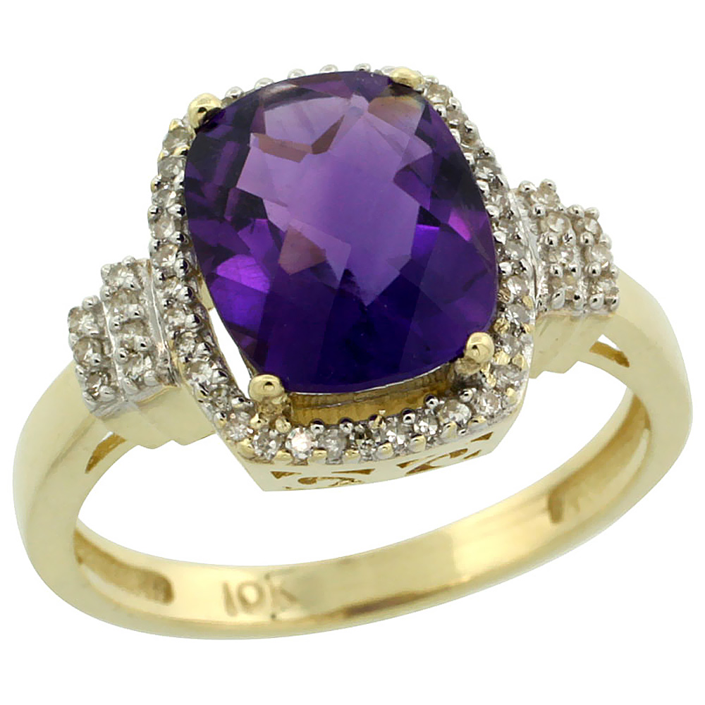 14K Yellow Gold Natural Amethyst Ring Cushion-cut 9x7mm Diamond Halo, sizes 5-10