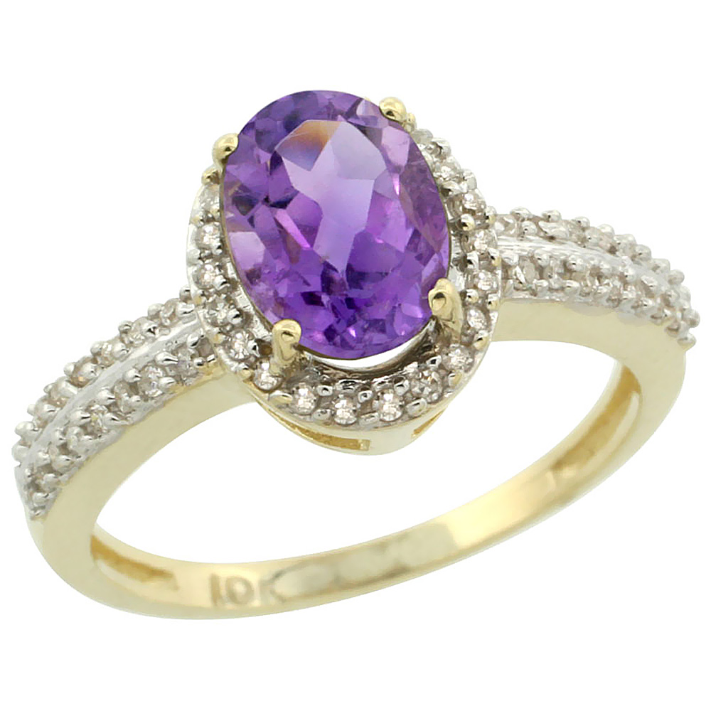 14K Yellow Gold Natural Amethyst Ring Oval 8x6mm Diamond Halo, sizes 5-10