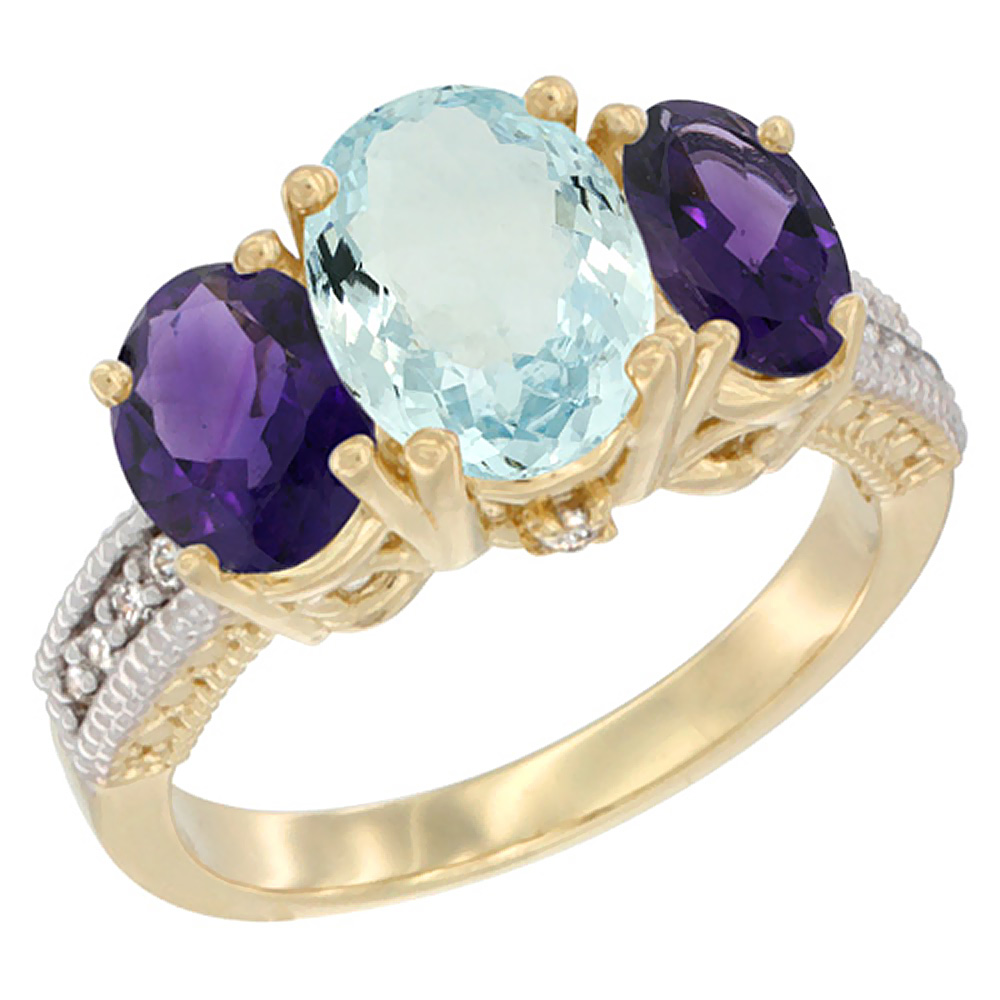 10K Yellow Gold Natural Aquamarine Ring Ladies 3-Stone 8x6 Oval with Amethyst Sides Diamond Accent, sizes 5 - 10