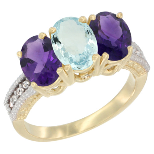 10K Yellow Gold Diamond Natural Aquamarine & Amethyst Ring Oval 3-Stone 7x5 mm,sizes 5-10