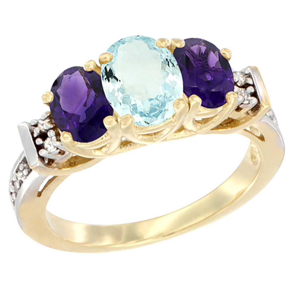 10K Yellow Gold Natural Aquamarine & Amethyst Ring 3-Stone Oval Diamond Accent