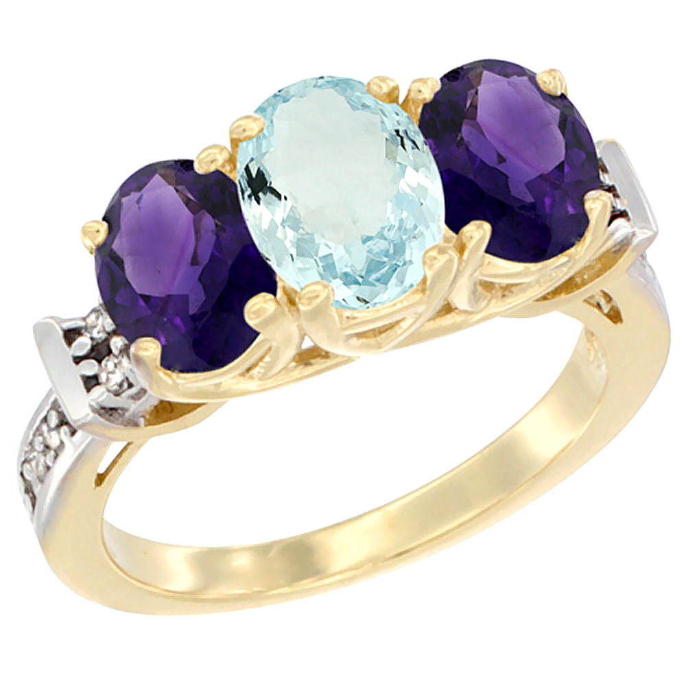 10K Yellow Gold Natural Aquamarine & Amethyst Sides Ring 3-Stone Oval Diamond Accent, sizes 5 - 10
