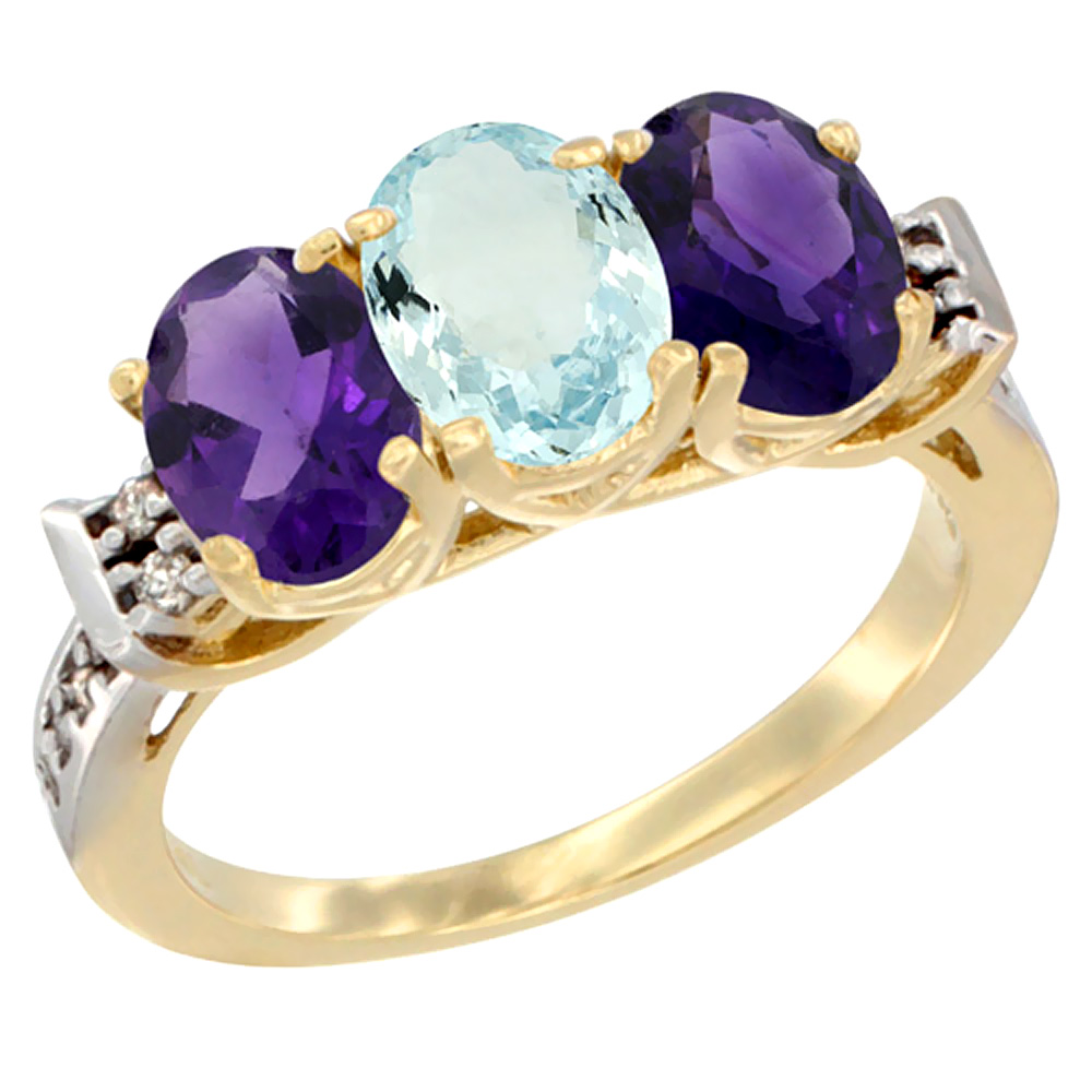 10K Yellow Gold Natural Aquamarine & Amethyst Sides Ring 3-Stone Oval 7x5 mm Diamond Accent, sizes 5 - 10