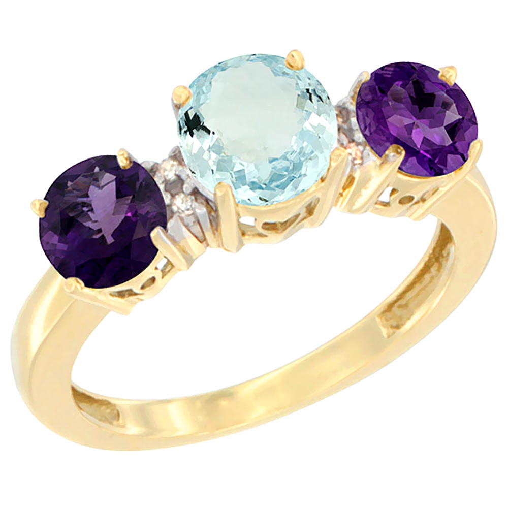 10K Yellow Gold Round 3-Stone Natural Aquamarine Ring & Amethyst Sides Diamond Accent, sizes 5 - 10