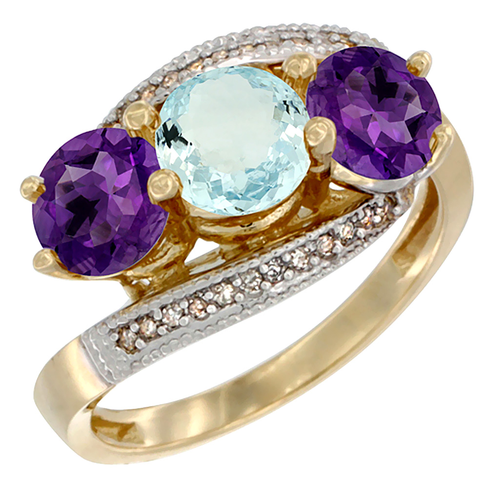 10K Yellow Gold Natural Aquamarine & Amethyst Sides 3 stone Ring Round 6mm Diamond Accent, sizes 5 - 10