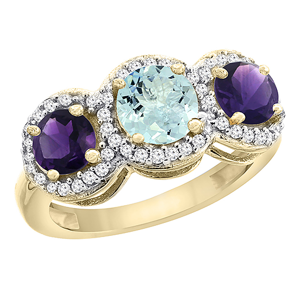 10K Yellow Gold Natural Aquamarine & Amethyst Sides Round 3-stone Ring Diamond Accents, sizes 5 - 10