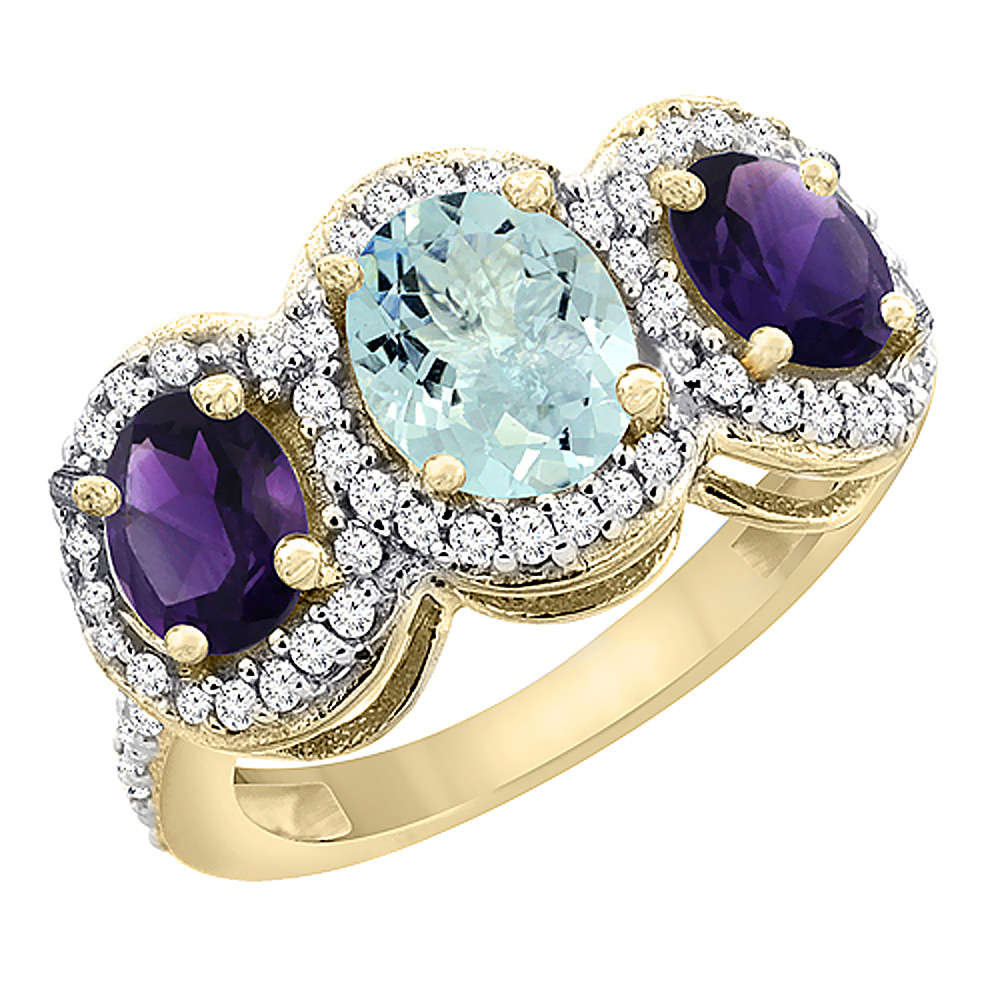 10K Yellow Gold Natural Aquamarine & Amethyst 3-Stone Ring Oval Diamond Accent, sizes 5 - 10