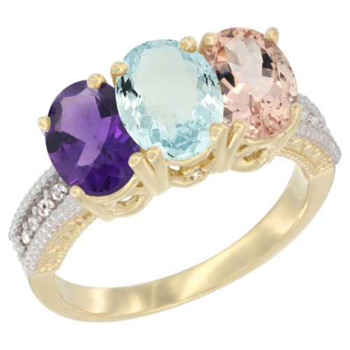10K Yellow Gold Diamond Natural Amethyst, Aquamarine & Morganite Ring Oval 3-Stone 7x5 mm,sizes 5-10