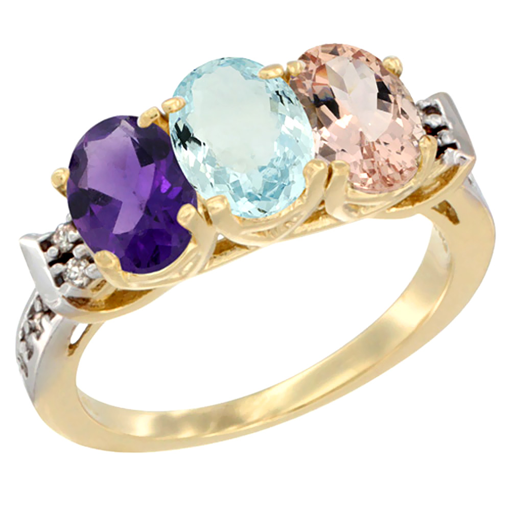 10K Yellow Gold Natural Amethyst, Aquamarine & Morganite Ring 3-Stone Oval 7x5 mm Diamond Accent, sizes 5 - 10