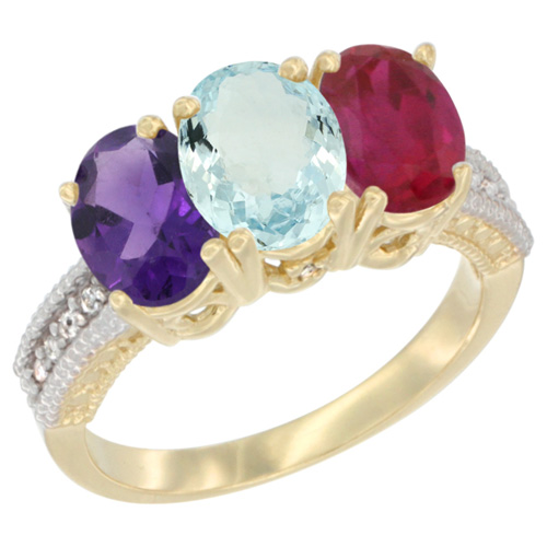 10K Yellow Gold Diamond Natural Amethyst, Aquamarine & Enhanced Ruby Ring Oval 3-Stone 7x5 mm,sizes 5-10