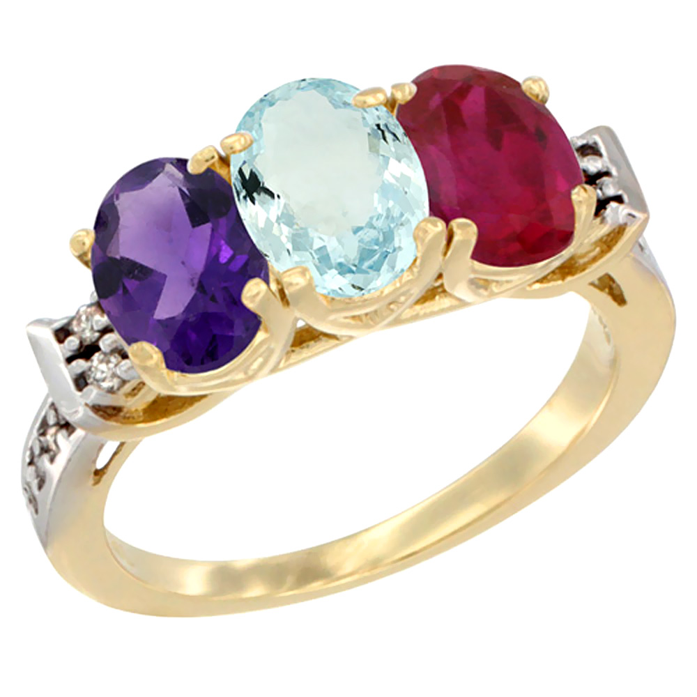 10K Yellow Gold Natural Amethyst, Aquamarine & Enhanced Ruby Ring 3-Stone Oval 7x5 mm Diamond Accent, sizes 5 - 10