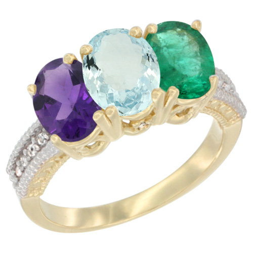 10K Yellow Gold Diamond Natural Amethyst, Aquamarine & Emerald Ring Oval 3-Stone 7x5 mm,sizes 5-10