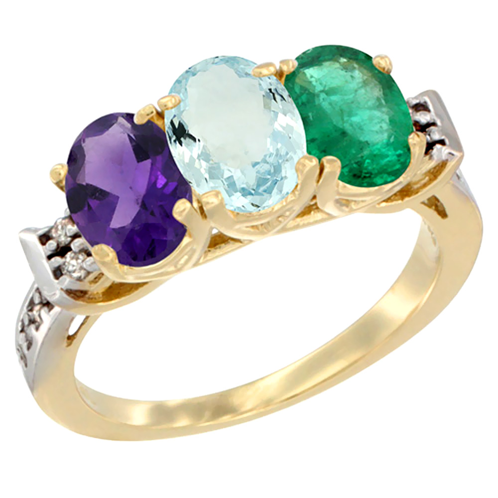 10K Yellow Gold Natural Amethyst, Aquamarine & Emerald Ring 3-Stone Oval 7x5 mm Diamond Accent, sizes 5 - 10