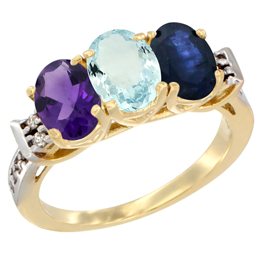 10K Yellow Gold Natural Amethyst, Aquamarine & Blue Sapphire Ring 3-Stone Oval 7x5 mm Diamond Accent, sizes 5 - 10