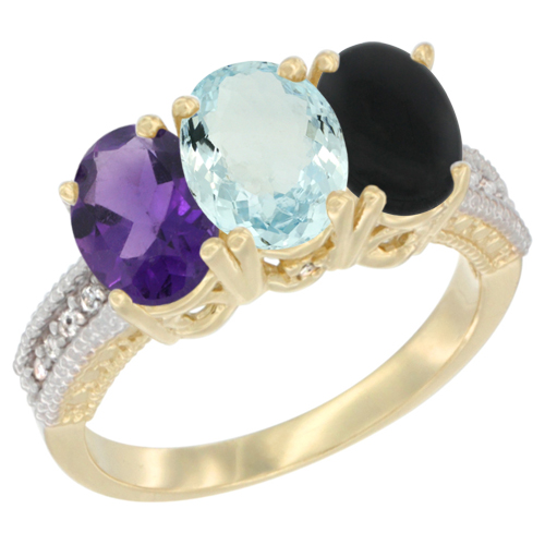 10K Yellow Gold Diamond Natural Amethyst, Aquamarine & Black Onyx Ring Oval 3-Stone 7x5 mm,sizes 5-10
