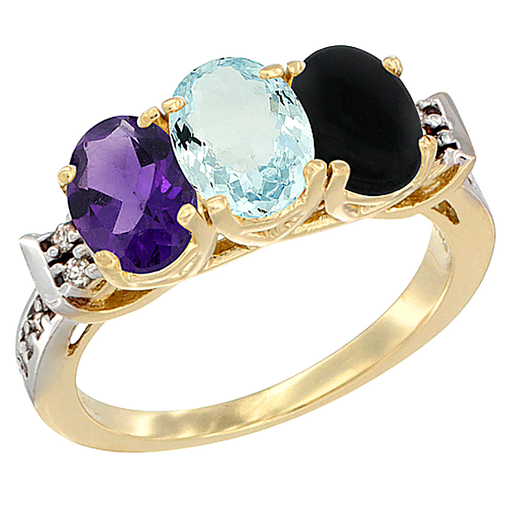 10K Yellow Gold Natural Amethyst, Aquamarine & Black Onyx Ring 3-Stone Oval 7x5 mm Diamond Accent, sizes 5 - 10