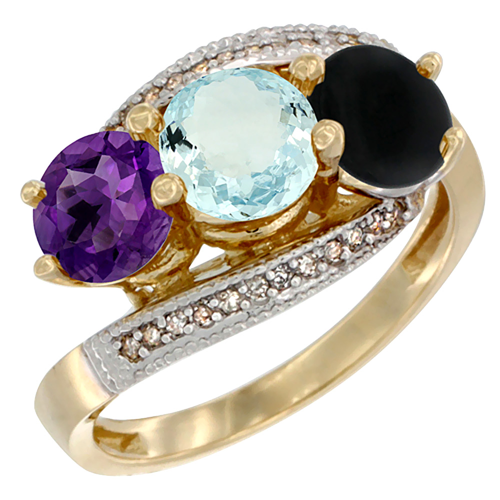 10K Yellow Gold Natural Amethyst, Aquamarine & Black Onyx 3 stone Ring Round 6mm Diamond Accent, sizes 5 - 10