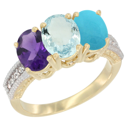10K Yellow Gold Diamond Natural Amethyst, Aquamarine & Turquoise Ring Oval 3-Stone 7x5 mm,sizes 5-10