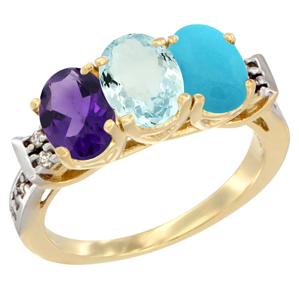 10K Yellow Gold Natural Amethyst, Aquamarine & Turquoise Ring 3-Stone Oval 7x5 mm Diamond Accent, sizes 5 - 10