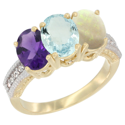 10K Yellow Gold Diamond Natural Amethyst, Aquamarine & Opal Ring Oval 3-Stone 7x5 mm,sizes 5-10
