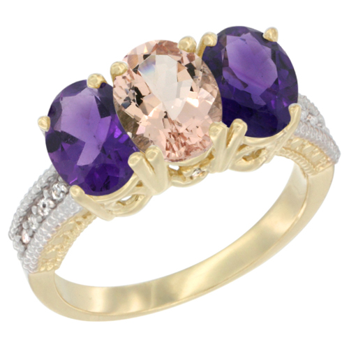 14K Yellow Gold Natural Morganite & Amethyst Ring 3-Stone 7x5 mm Oval Diamond Accent, sizes 5 - 10