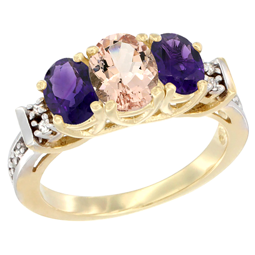 10K Yellow Gold Natural Morganite & Amethyst Ring 3-Stone Oval Diamond Accent