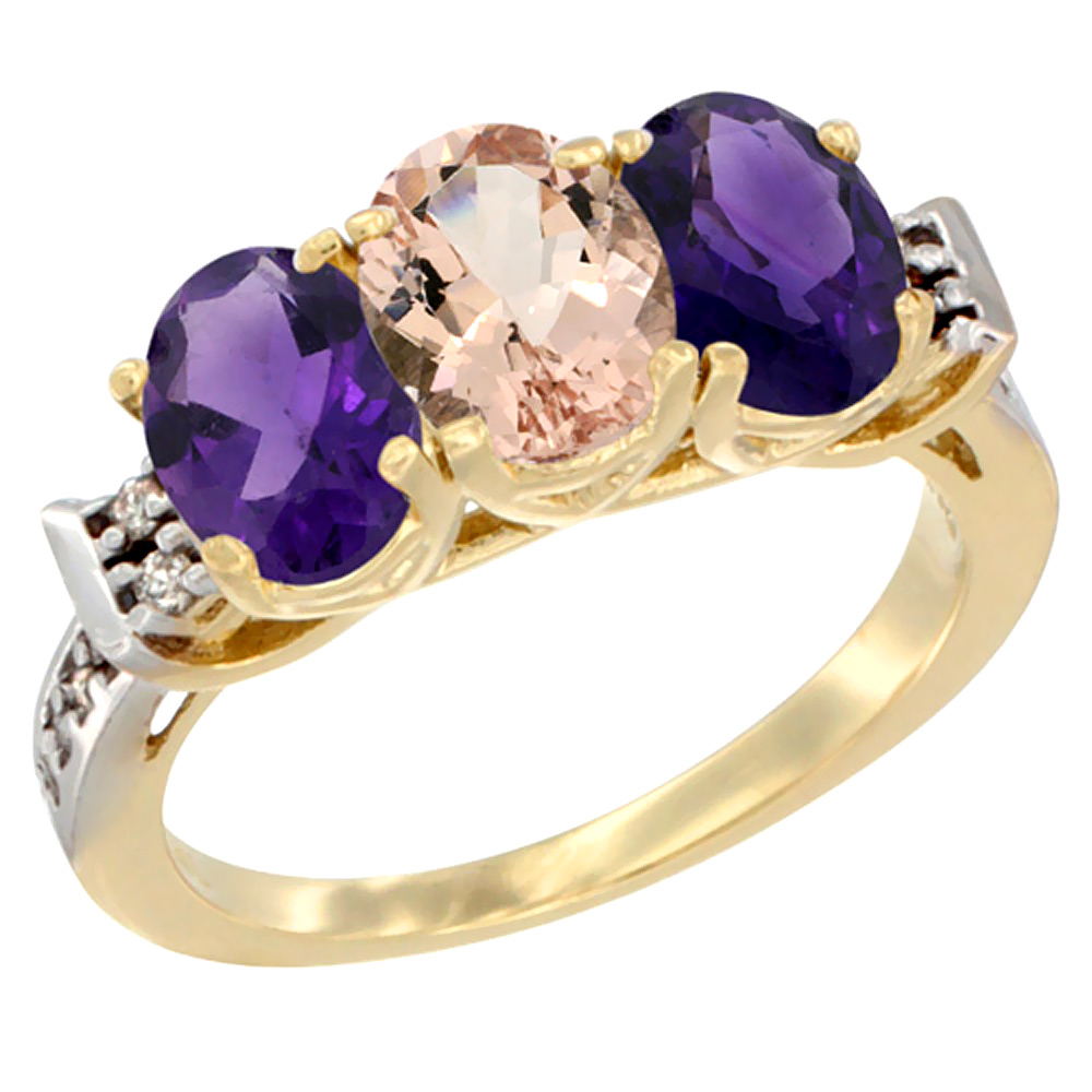 14K Yellow Gold Natural Morganite & Amethyst Sides Ring 3-Stone 7x5 mm Oval Diamond Accent, sizes 5 - 10