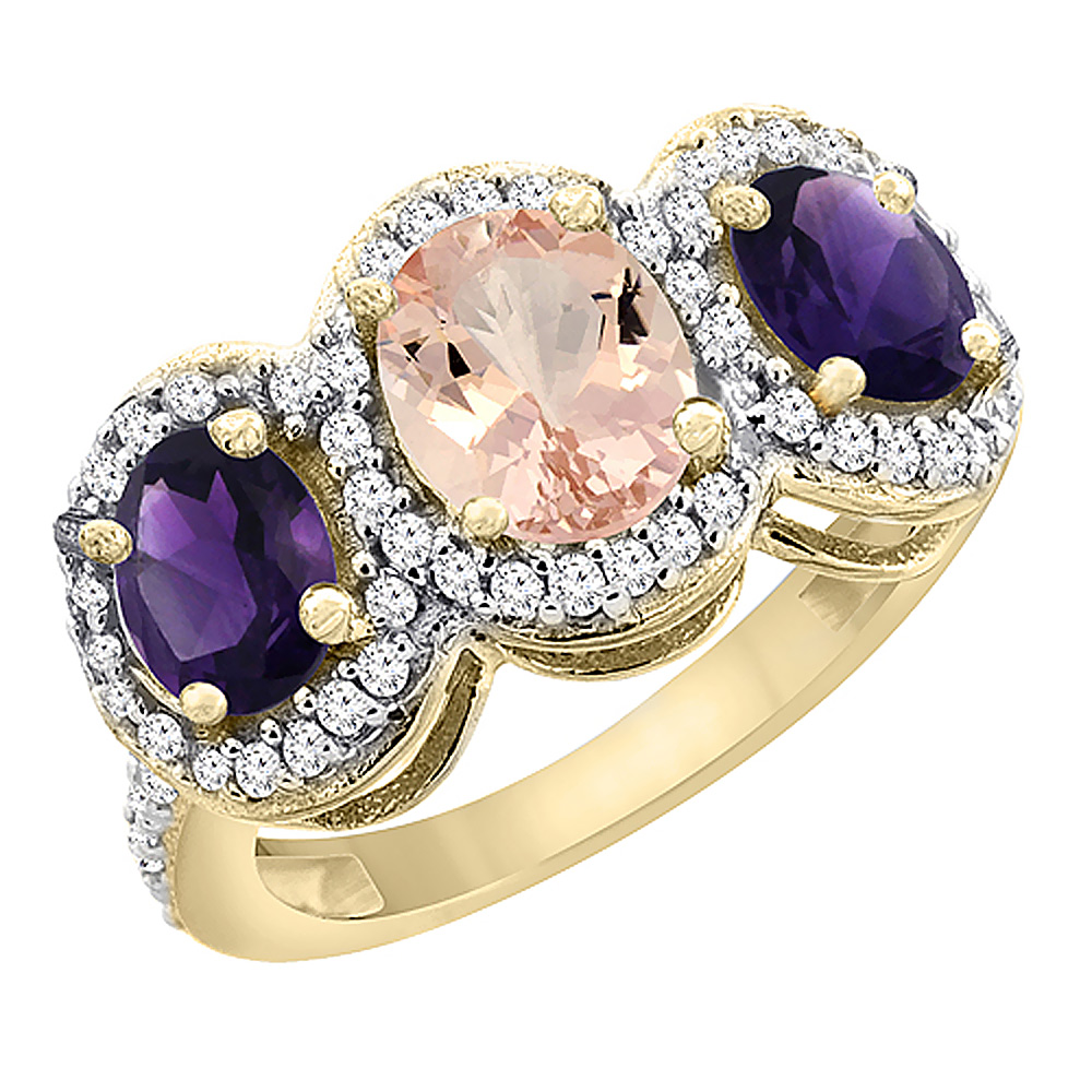 14K Yellow Gold Natural Morganite & Amethyst 3-Stone Ring Oval Diamond Accent, sizes 5 - 10