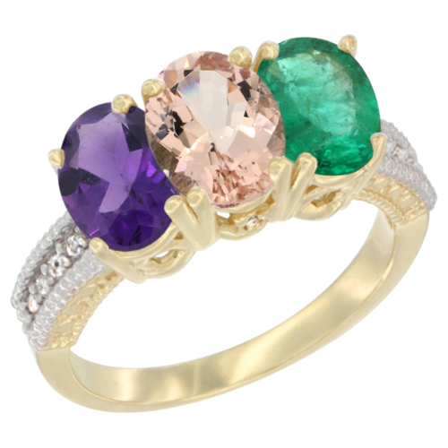 10K Yellow Gold Diamond Natural Amethyst, Morganite & Emerald Ring Oval 3-Stone 7x5 mm,sizes 5-10