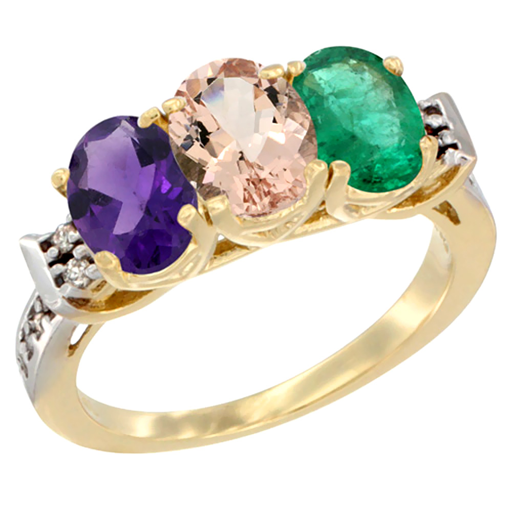 10K Yellow Gold Natural Amethyst, Morganite & Emerald Ring 3-Stone Oval 7x5 mm Diamond Accent, sizes 5 - 10