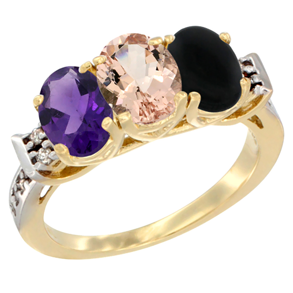 10K Yellow Gold Natural Amethyst, Morganite & Black Onyx Ring 3-Stone Oval 7x5 mm Diamond Accent, sizes 5 - 10