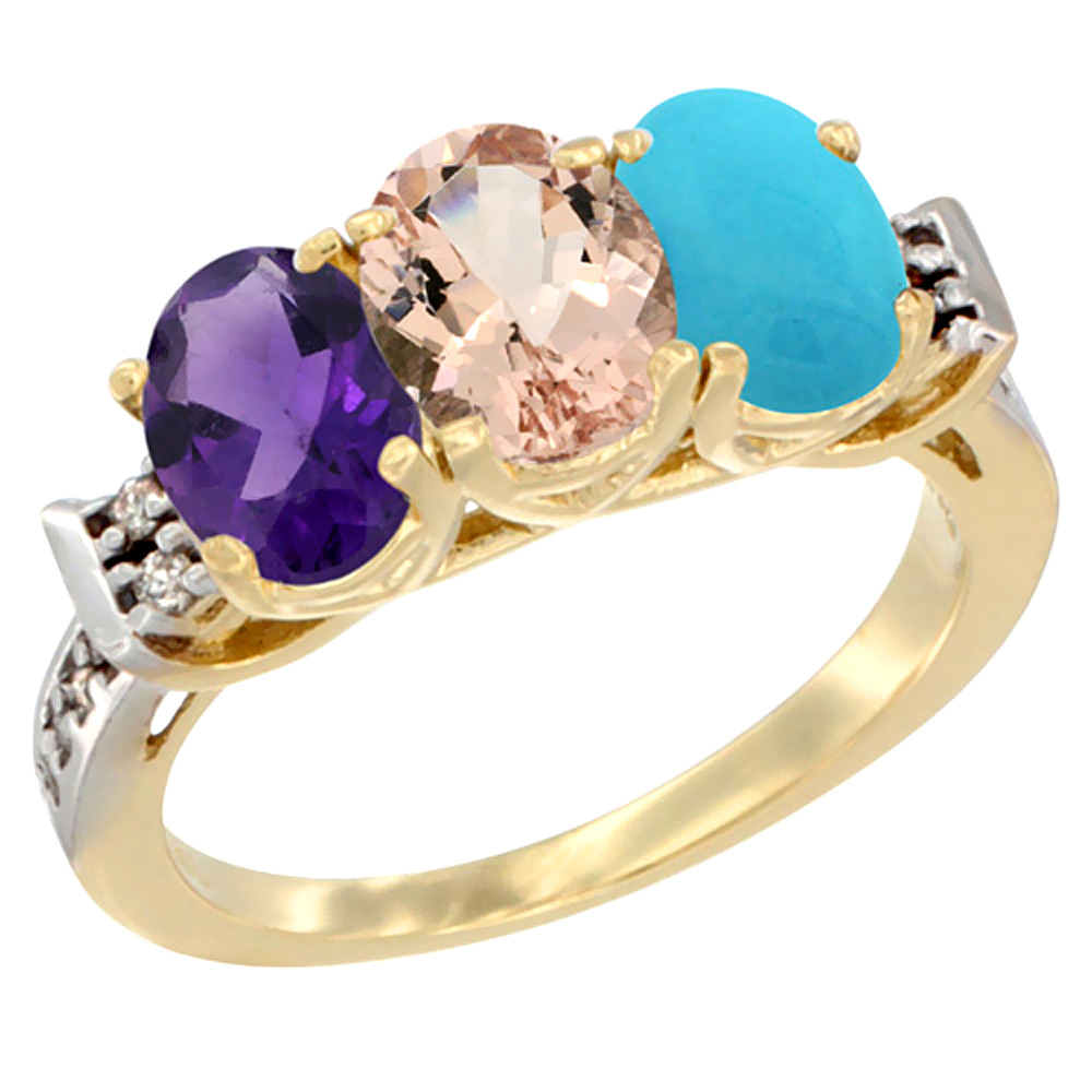 10K Yellow Gold Natural Amethyst, Morganite & Turquoise Ring 3-Stone Oval 7x5 mm Diamond Accent, sizes 5 - 10